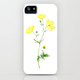 yellow buttercup flower watercolor iPhone Case