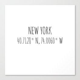 New York Coordinates Canvas Print