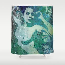 Heavy Crown (nude butterfly pin up, erotic graffiti) Shower Curtain