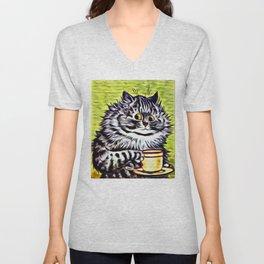 Cat on Coffee Break - Louis Wain Cats Unisex V-Neck