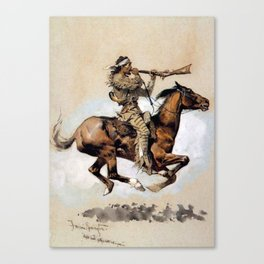 "Frederic Remington ""Buffalo Hunter Spitting Bullets"" Western Art Canvas Print"