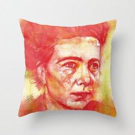 SIMONE DE BEAUVOIR watercolor portrait.2 Throw Pillow