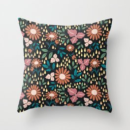 Floral Clusters Throw Pillow