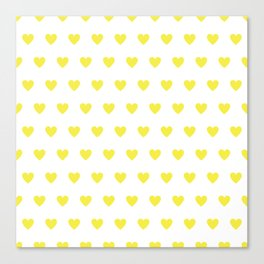 Polka dot hearts - yellow Canvas Print