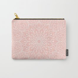 White Mandala Pattern on Rose Pink Carry-All Pouch