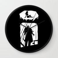 randy c Wall Clocks featuring Randy Vampire by Because Skulls