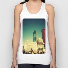 Chicago Retro Skyline ~ architecture Unisex Tank Top