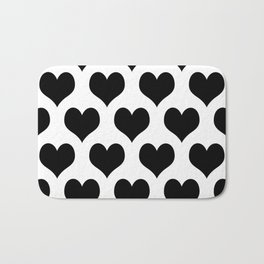 White Black Heart Minimalist Bath Mat