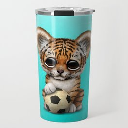Tiger Cub With Football Soccer Ball Travel Mug