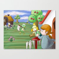 animal crossing Canvas Prints featuring Animal Crossing by timehwimeh