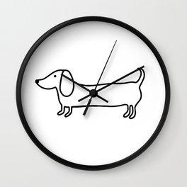 Simple dachshund black drawing Wall Clock