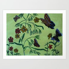 wildflowers and butterflies Art Print