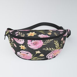 Delicate Poppy Pattern On Chalkboard Fanny Pack