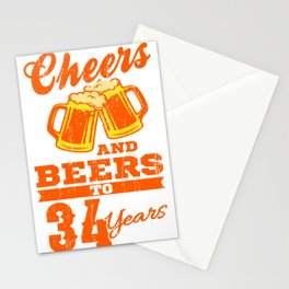 Cheers And Beers To 34th Birthday Gift Idea Stationery Cards