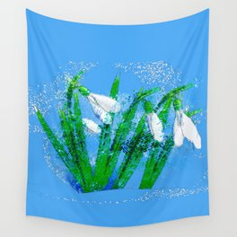 Digital Watercolor snowdrops Wall Tapestry
