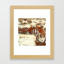 Warm colored Animal swimming tiger Framed Art Print