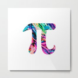 Watercolor Abstract Pi Day Oil Paint Metal Print
