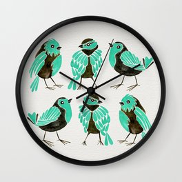 Turquoise Finches Wall Clock