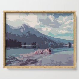 Serene Mountain and Lake Watercolor Art Serving Tray