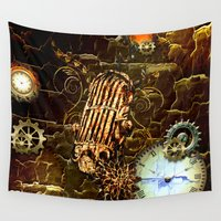steampunk Wall Tapestries featuring Steampunk, micropphone by nicky2342