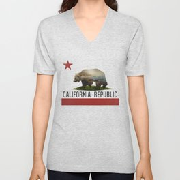 California Grizzly Bear Flag Unisex V-Neck
