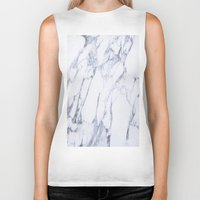 white marble Biker Tanks featuring White Marble by Ricardo Lopez