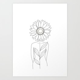 Minimalistic Line Art of Woman with Sunflower Art Print