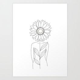 Minimalistic Line Art of Woman with Sunflower Kunstdrucke