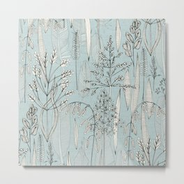 meadow feathers celadon blue Metal Print