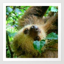Poly Animals - Sloth Art Print