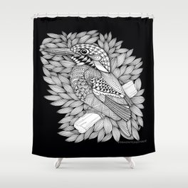 Zentangle Halcyon Black and White Illustration Shower Curtain
