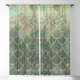 Green & Gold Mermaid Scales Sheer Curtain