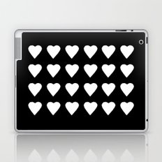 16 Hearts White on Black Laptop & iPad Skin
