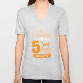 5th Wedding Anniversary Gift Married Couple Unisex V-Neck