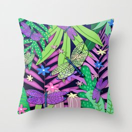 Dragonfly Jungle Throw Pillow