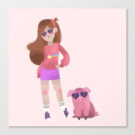 Cool Mabel and Waddles Canvas Print