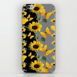 YELLOW BUTTERFLIES & SUNFLOWERS ART PANELS iPhone Skin
