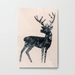 Deer silhouette black Metal Print