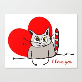 Cat Heart Love Canvas Print