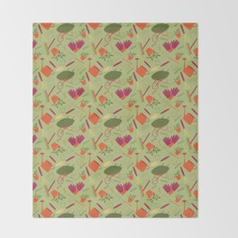 A Day in the Garden - Green Throw Blanket