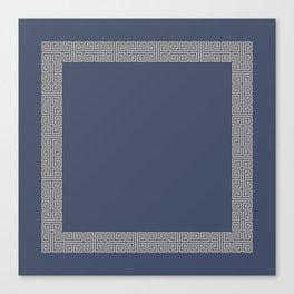 Blue and Tan Greek Key Pattern Border Canvas Print