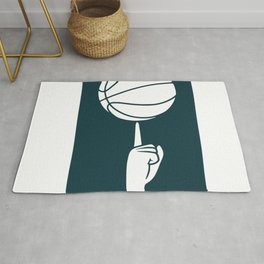 Basketball spinning on a finger Rug