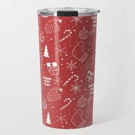New Year Christmas winter holidays pattern with gifts, candys, christmas tree and toys, santa hat, s Travel Mug