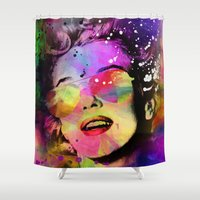 marilyn Shower Curtains featuring Marilyn  by mark ashkenazi