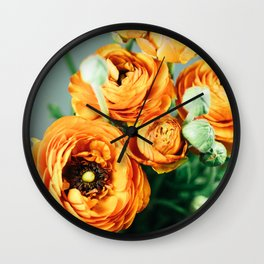 Orange ranunculus Wall Clock