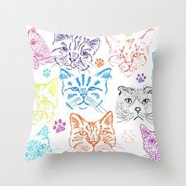 Cats heads Throw Pillow