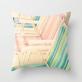 It's Summertime (vintage beach chairs) Throw Pillow