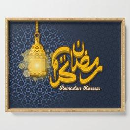 Ramadan Kareem in Cartoon 3D Arabic Calligraphy with Luminous Lantern on The Geometry Background Serving Tray