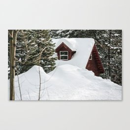Cabin in the Snow. Canvas Print