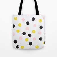 polka dot Tote Bags featuring Polka Dot  by Naomi Hadfield